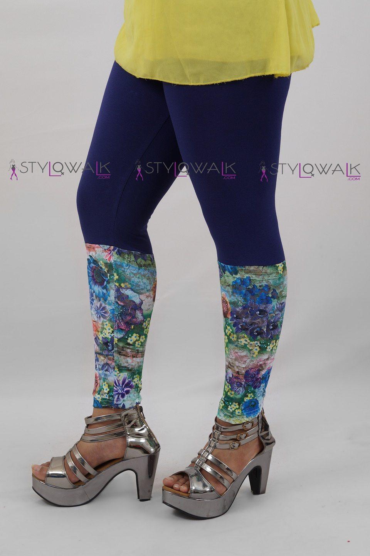 Printed Half Net legging- Navy Blue Leggings- Stylowalk.com