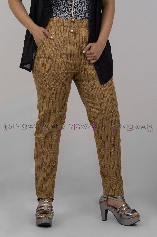 Tiger Brocade Cigarette Pant - 2090 - Stylowalk.com