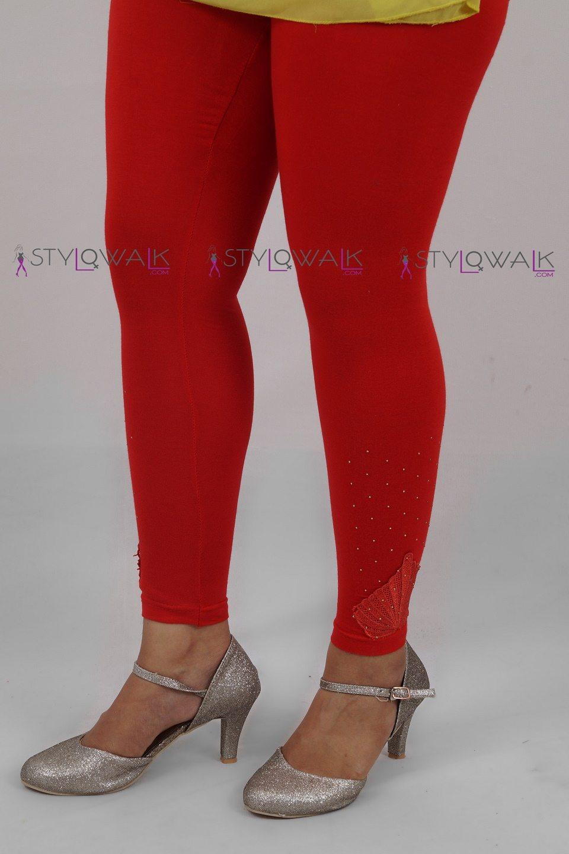 sequin flower legging- Red-side-Stylowalk.com