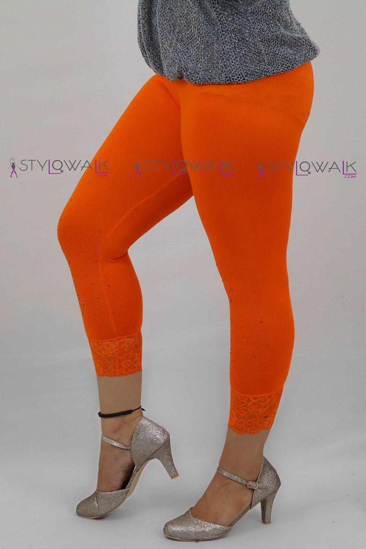 Capri Sequence Lace Legging- Dark Orange- Stylowalk.com