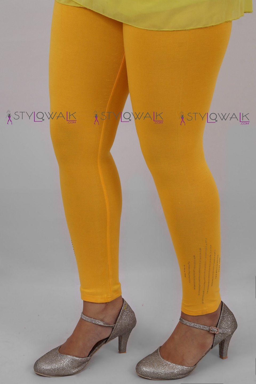 sequin leggings-Yellow Legging- Stylowalk.com